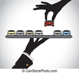 cliente, el seleccionar, mejor, coche rojo
