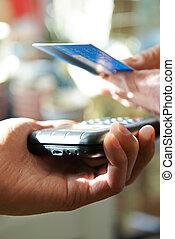 cliente, elaboración, compra, utilizar, contactless, pago