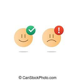 cliente, emoji, realimentação, oposta, triste, levantamento, serviços, emoções, ícone, sorrizo