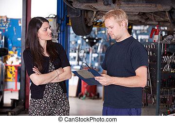 cliente, enojado, mecánico