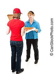 cliente, entrega, recibiendo,  pizza