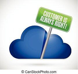 cliente, es, always, derecho, nube, ilustración