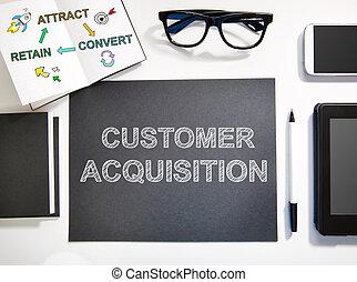 cliente, estación de trabajo, concepto, negro, blanco, adquisición