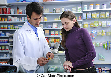 cliente, farmacêutico, aconselhar, farmácia