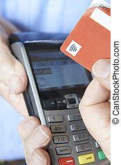 cliente, fazer, compra, usando, contactless, pagamento