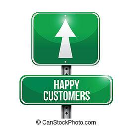 cliente, feliz, desenho, ilustração, sinal
