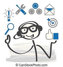 cliente, figura, sostegno, cuffie, icons., persona, bastone
