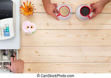 cliente, fino, caffè, tendering, pagamento