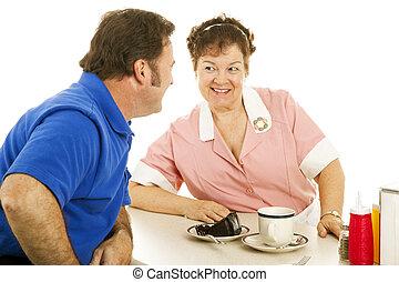 cliente, flirting, cameriera