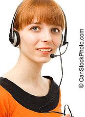 cliente, fundo, serviço, jovem, femininas, operador, retrato, branca