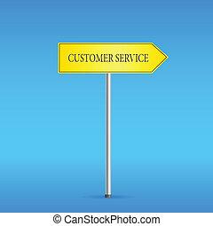 cliente, giallo, strada servizio, segno