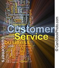 cliente, glowing, conceito, serviço, fundo