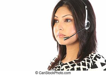 cliente, headset, apoio, menina