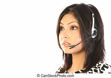 cliente, headset, apoio, mulher