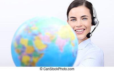 cliente, headset, conceito, serviço, globo, nós, contato, mulher segura, operador, sorrindo