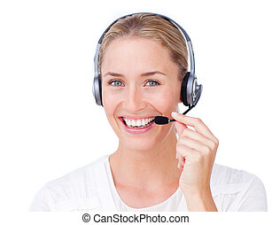 cliente, headset, representante serviço, usando, sorrindo