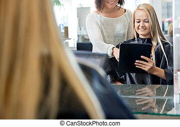 cliente, hembra, tableta, digital