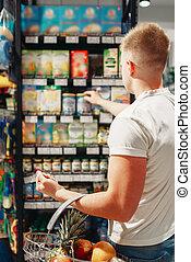 cliente, higiene pessoal, produtos, escolher, macho