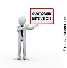 cliente, homem negócios, 3d, -, retenção