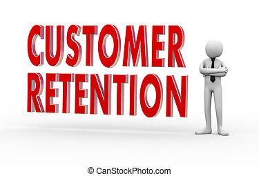 cliente, homem negócios, 3d, retenção