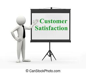 cliente, homem negócios, -, satisfação, 3d