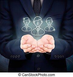 cliente, homem negócios, segurando, serviço, ícone