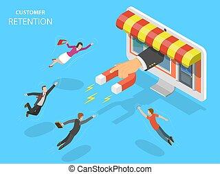 cliente, illustration., vettore, deposito linea, ritenzione