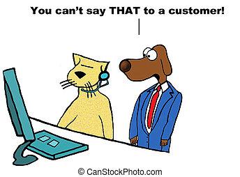 cliente, insultante, servicio