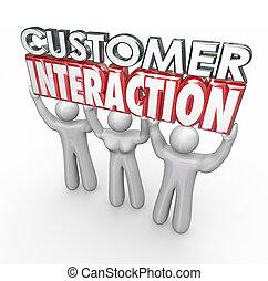 cliente, interacción, compromiso, participación, palabras, ...