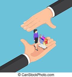cliente, isometric, carro shopping, homem negócios, mãos, protegendo