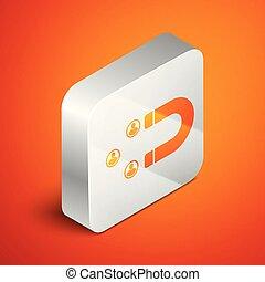 cliente, isometric, quadrado, retenção, service., pessoas, apoio, magnet., isolado, ilustração, button., experiência., vetorial, laranja, ícone, prata, atraindo