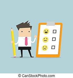 cliente, lápis, realimentação, evaluation., lista de verificação, clipboard., papel, segurando, homem negócios, emoticons.