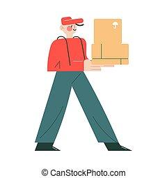 cliente, lar, mensageiro, uniforme, ordem, sorrindo, caixa, boné, trabalhando, entregar