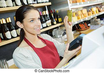 cliente, listo, para pagar, en, tienda