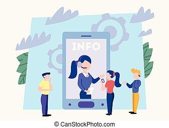 cliente, loro, donna, service., assistenza tecnica, clienti, problemi, idea, concept., aiuto