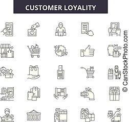 cliente, loyality, contorno, cliente, set, icone, illustration:, vector., segni, linea, concetto