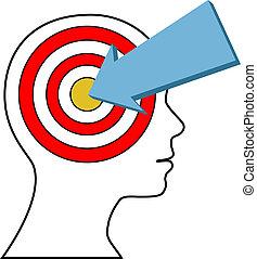 cliente, marketing, bersaglio, freccia, persona