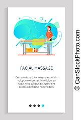 cliente, massaggio facciale, cosmetologia, asciugamano