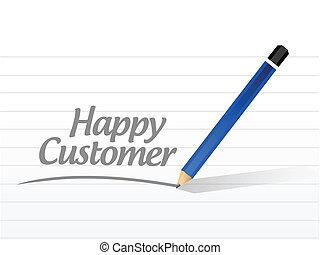 cliente, mensagem, desenho, ilustração, feliz