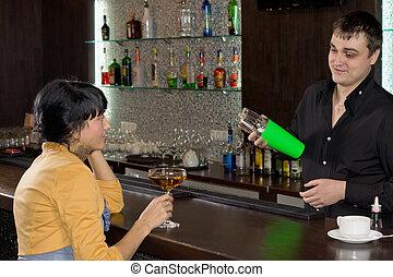 cliente, misturando, barman, femininas, coquetel