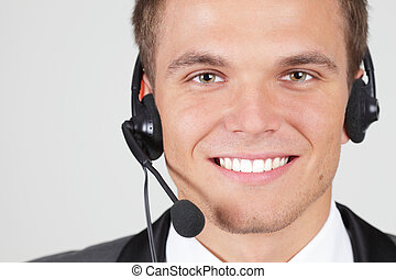 cliente, mujer, apoyo, aislado, operador, sonriente