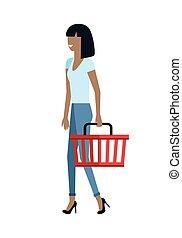 cliente, mujer, carácter, vector, ilustración