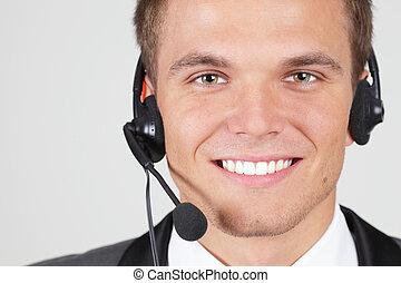 cliente, mulher, apoio, isolado, operador, sorrindo
