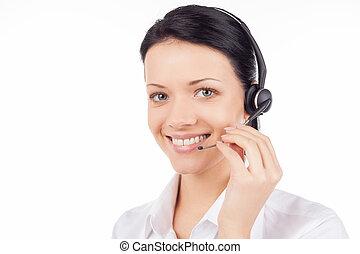 cliente, mulher bonita, serviço, headset, jovem, isolado, representative., enquanto, câmera, sorrindo, olhar, branca