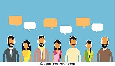 cliente, mulher, grupo, centro, pessoas, comunicação, operadores, equipe, indianas, chamada, conversa, internet, bolha, apoio, homem