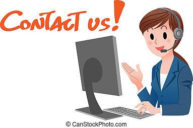 cliente, mulher, us!, serviço, contato