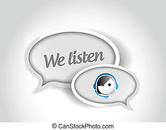 cliente, nós, apoio, ilustração, bolha, escutar