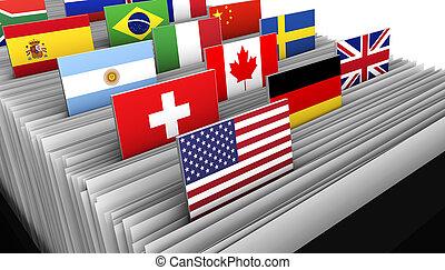 cliente, negócio internacional, diretório, arquivo