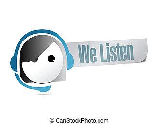 cliente, nosotros, apoyo, ilustración, diseño, escuchar