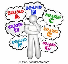cliente, nubi, marca, illustrazione, scelte, pensiero, scegliere, ditta, meglio, 3d